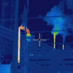 Thermal image of chimney insulation failure