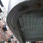 Rusting balcony underside