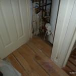 Water damaged wooden flooring