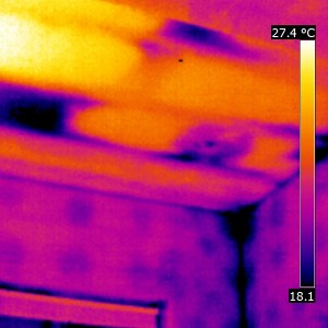 Missing insulation in this bathroom ceiling, and evidence of thermal bridging through the walls. We can also see that the insulation around the back of the light has been pushed aside during the fitting process and therefore energy will escape and be lost through here. This room was incredibly cold because of the missing insulation in the ceiling which can be seen (the dark patches) in this picture. 